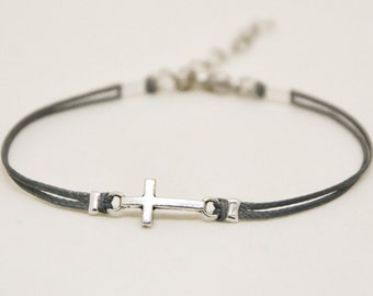 Confirmation gift, cross bracelet, girl bracelet with silver cross charm, christian catholic jewelry, gray cord, gift for sister or daughter