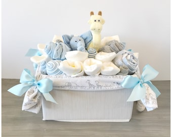 Baby gift basket etsy new baby gift basket for boy jungle giraffe baby shower basketco worker negle Gallery