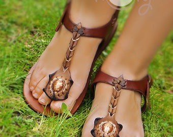 Womens Handmade Brown Leather Shell Sandals, Womens Sandals, Womens Leather Sandals, Leather Sandals Women, Boho Sandals, Hippie Sandals