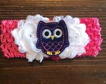 Shabby Chic Owl Embellished Floral Headband