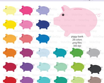 Piggy Bank Icon Digital Clipart in Rainbow Colors - Instant download PNG files