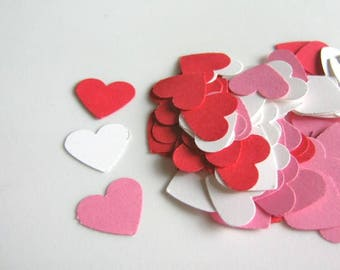 100 Red Pink White Heart Cut Outs 5/8 Inch Confetti Heart Die Cut, Cardstock Paper