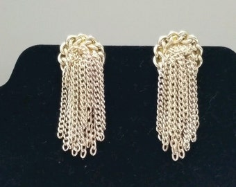Vintage Clip On Earrings Silver Tone Marked Japan Rope Dangle Retro Glamorous Hollywood Starburst