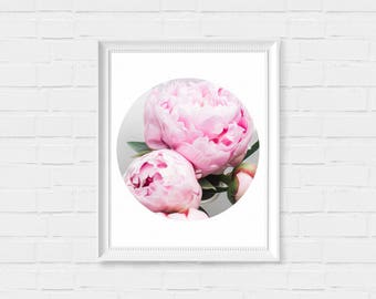 Pastel Peony Print - Oil Painting Flower Print - Printable Wall Art - Instant Download Printable Art - Circle Minimalist Geometric Decor