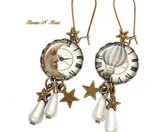 A dream cabochon earrings bronze Owl Moon Christmas gift