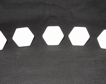 5 White Vintage Porcelain Glass Knobs 6 sided