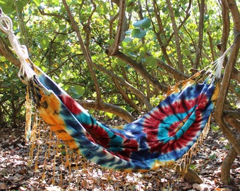 Hammock With Fringe Tie-Dye Garden Indoor Home Decor Outdoor Design Wedding or Birthday Gift Idea Cotton Canvas