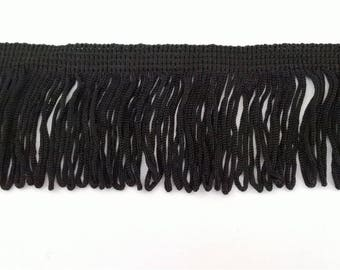 Lace polyester black looped fringe