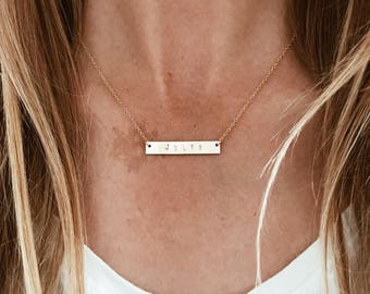 Personalized CUSTOM Stamped Bar Necklace in 14/20 Gold Fill