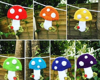 Crochet Pattern - Rainbow Toadstool Bunting Instant Download