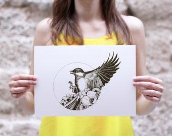Emily | Hand Drawn Fantasy Surreal Illustration | Art Print | Wall Decor | Pen Ink Sketch