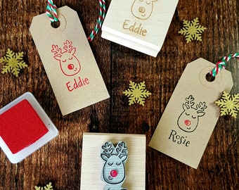Personalised Children's Christmas Reindeer Rubber Stamp - Personalized Custom Stocking Stuffer Filler - Christmas Gift - Stag - Moose