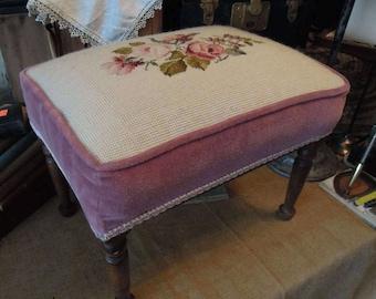 Antique Needle Point Wood Stool / Vintage Pink Velvet Stool /  Victorian Pink Rose Foot Stool