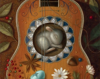 Guitar Art Print Nature Bunny Illustration