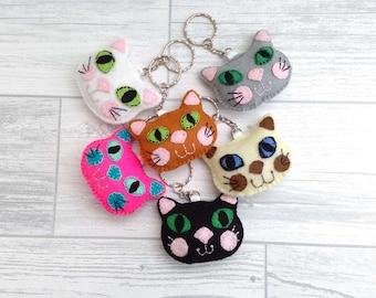 Cat Keyring / Felt Cat Key chain / Cat Key Ring / Kitten Keyring / Kitten Key Ring / Cat Gift / Cat Lover Gift / Cat Bag Charm