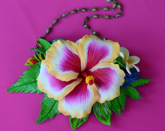 Art necklace,polymerclay,necklace,elegant,flowers,unique,fashion,tropical flowers,hibiscus,plumeria,jewerly,romantic,pink,green,white