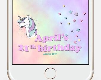 Unicorn Birthday Snapchat Filter, Kids Birthday Snapchat, Unicorn Geofilter, Unicorn Snapchat Filter, Custom Snapchat Filter, Unicorn Party