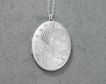 Large Oval Sterling Silver Locket Necklace, 1978 Vintage Scrollwork Engraved Pendant - Swirls Unfurl