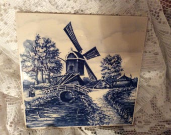 Beautiful Blue Delph Tile with a Stream Bridge and a Windmill A Very Pretty Tile Hot Plate Trivet Mosaics Wall Tileing Backsplash Framing