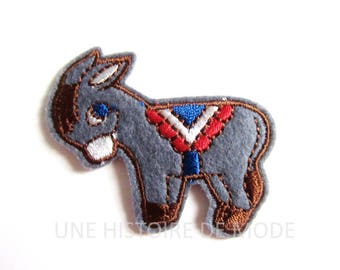 Donkey fusible patch, badge fusible donkey to sew or iron 53 x 41 mm - embroidery donkey - animal patch - embroidered patch