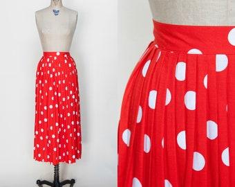 1980s Red Polka Dot Skirt /// Vintage Pleated Midi Skirt Medium