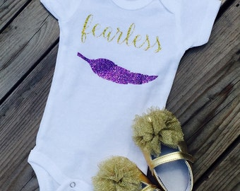 Fearless Onesie ; Gold Glitter feather Onesie; Hipster Bodysuit; Glittery Baby Outfit; gold glitter shirt baby girl onesie