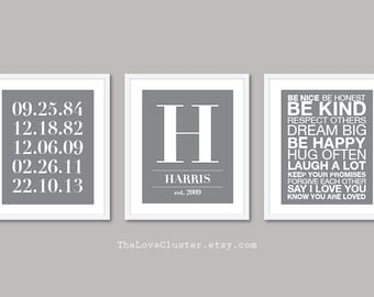 Custom Family Prints - Family Name and Dates Print - House Rules Print - Personalized Family Wall Art - Set of 3 Prints - The Love Cluster