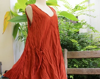 L-XL Sleeveless Cotton Top/ Short Tunic - Brick