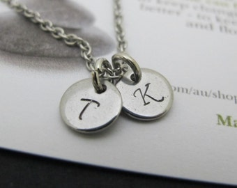 Monogram-initials necklace-Tiny-dainty letter necklace-Silver disk letter necklace-initial jewelry gift for her-Personalized letter necklace