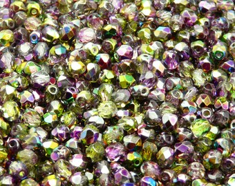 100pcs Czech Fire-Polished Faceted Glass Beads Round 4mm Magic Violet-Green (4FP012)