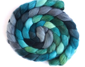 Shadows and Conifers, Falkland Wool Roving - Hand Dyed Spinning and Felting Fiber