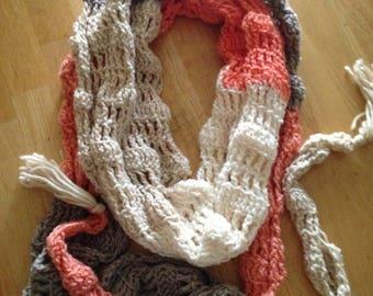 Long pink/gray/white scarf