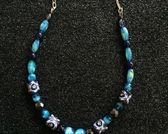 Blue Paw Print Necklace with Handmade polymer beads