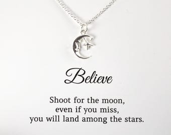 Shoot for the Moon Necklace , Inspirational Quote Graduation Gift Jewelry , Gift Card , 925 Sterling Silver Jewelry