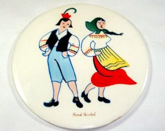 Vintage Ceramic Tile, Hot Plate, Kitchen Decor, Hand Painted  (838-11)