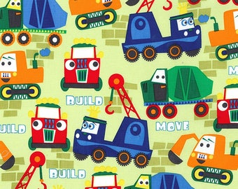 SALE Little Movers Build More Paint Box by Michael Miller - Construction Trucks Bulldozer Green - Quilting Cotton Fabric - choose your cut