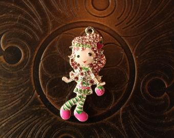 Strawberry Shortcake Inspired Rhinestone and Enamel Pendant for Chunky Bubblegum Necklaces