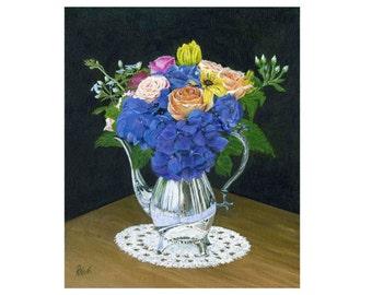 Flowers in Silver Vase, floral arrangement, quality prints, mypaintboxonline art, home decor, office wall art, flowers, acrylic painting,
