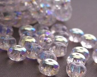 25 Czech Glass Gemstone Donut 7/5mm Crystal AB CZF035
