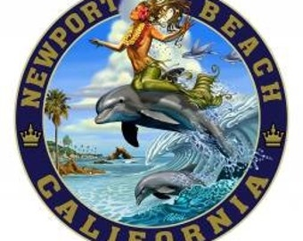 Dolphin Surfing Canvas Art-Newport Beach - By Rick Rietveld