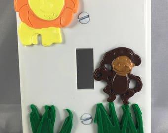 Nursery Decor, Animal Light Switch, Light Switch Plate, Kids Bedroom, Animal Nursery Theme, Polymer Clay Decor