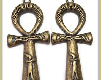 4 Decorated Antiqued Brass Egyptian Ankh Pendants 43mm PB93