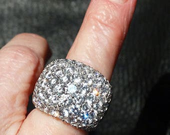 Fabulous Band Ring, Grade A Cubic Zirconia, 16 Grams Sterling Silver