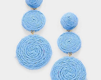 Blue Thread Dome Double Thread Disc Link Earrings