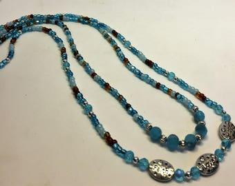 Necklace 2 Strands Aqua Blues Brown Silver Faith Love Hope Adjustable Length