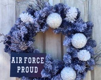 Air Force, Air Fore Proud Wreath, Winter Wreath, Military Wreath, Snowball Wreath, Air Force Winter Wreath, Air Force Decor