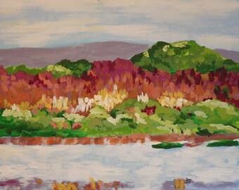 River Bank, original acrylic painting
