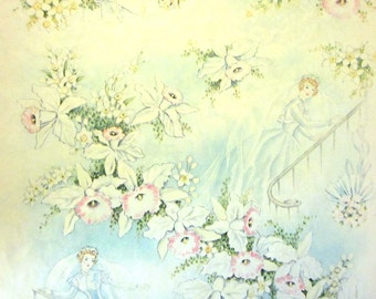 Vintage Wrapping Paper - Wedding Belle on Staircase - Partial Sheet Wedding Gift Wrap