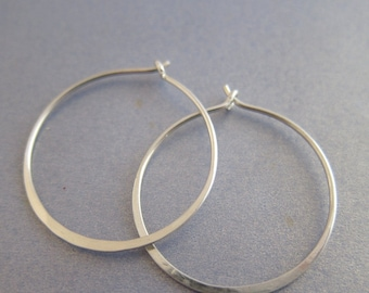 Smooth Hammered Sterling Silver Bold Hoop Earrings, Small to Medium Size,  Custom Made, mother-in-law jewelry birthday gift