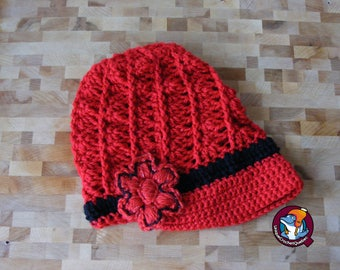 Beanie Hat crocheted with color scheme and flower